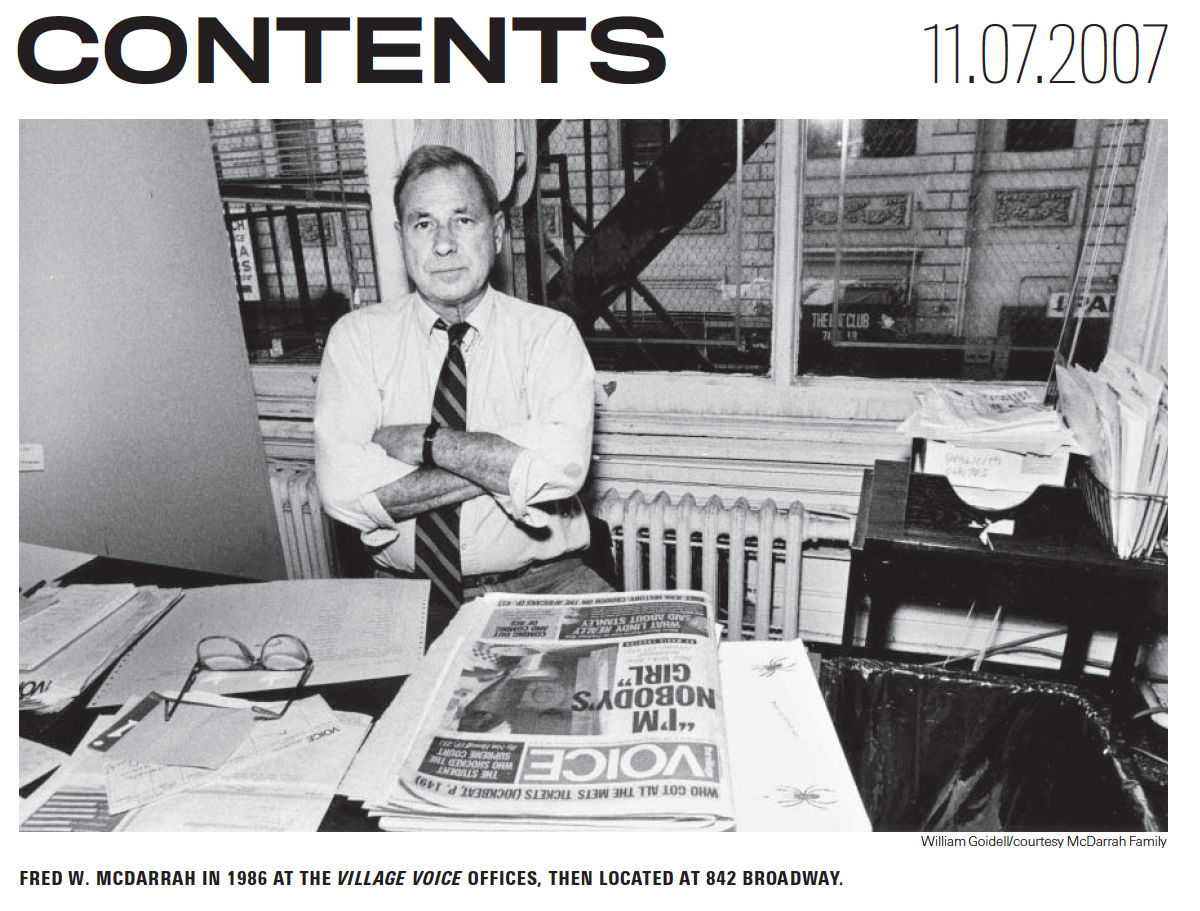 Memorial photo in the Village Voice of Fred McDarrah