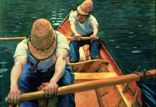 Gustave Caillebotte, Oarsmen Rowing on the Yerres, 1877