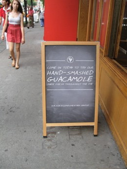 Ooooh! Hand-smashed!? How else, exactly, would you make guacamole? In a blender?
