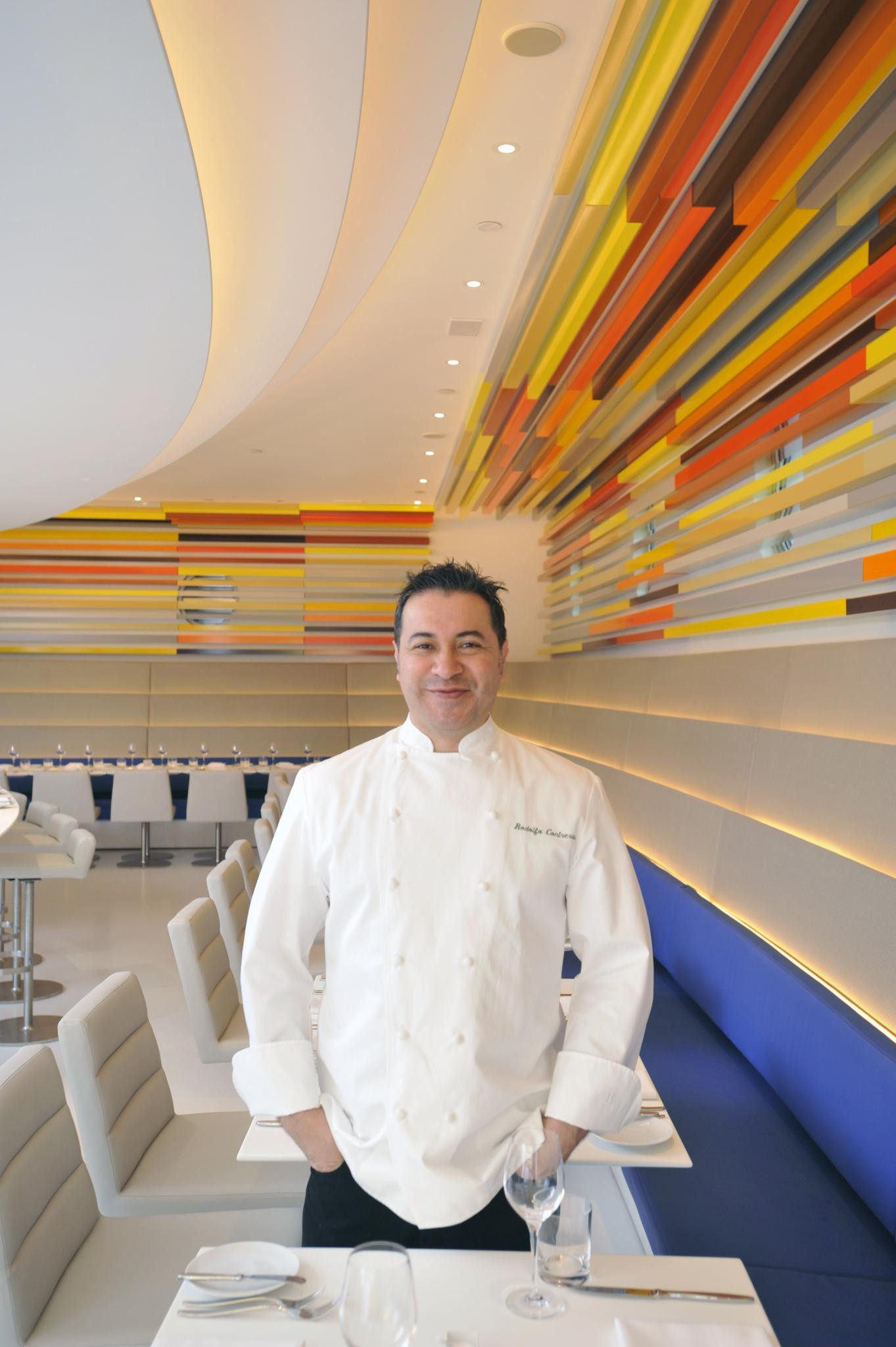 Chef Rodolfo Contreras in The Wright's dining room