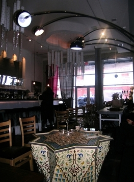 The Baco Cafe's antique Moroccan tables.