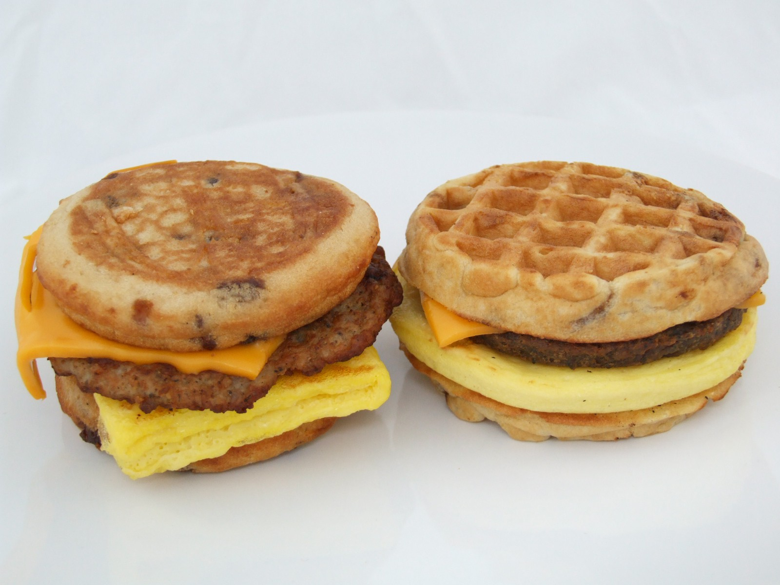 Left: McGriddle, Right: Waffle Sandwich