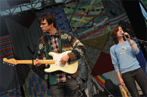 The Dirty Projectors last summer, apparently pissing someone off royally. Pic by Abbey Braden.