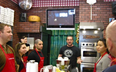 Mark Bello leads one of his pizza classes.