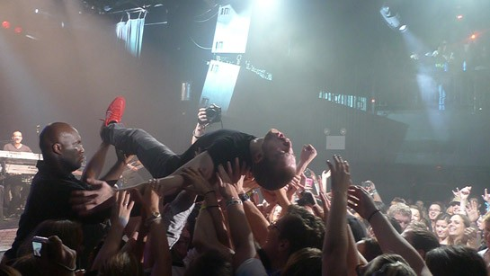 A bout of roadie-assisted crowd-surfing, and why not. Pics by Rob, more below.