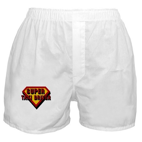 """""""Super Taxi Driver"""" boxers, inappropriate for an actual taxi driver. Via Cafepress."""