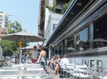 Lots of sidewalk seating at the Highliner
