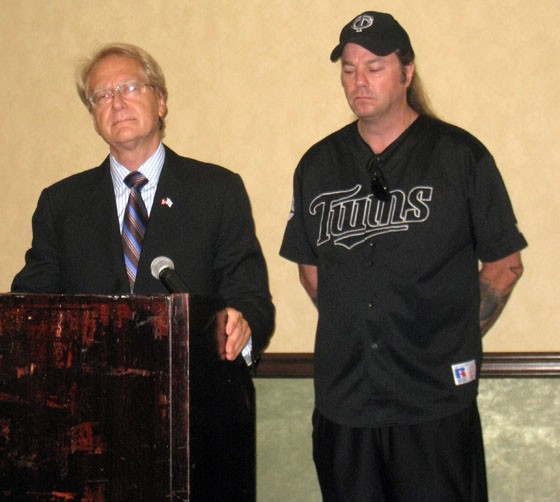 Bradlee Dean, at right, in typical garb at his press conference.