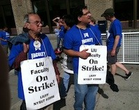 Striking faculty outside of LIU's downtown Brooklyn campus