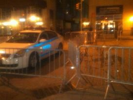 Barriers up in the Financial District.