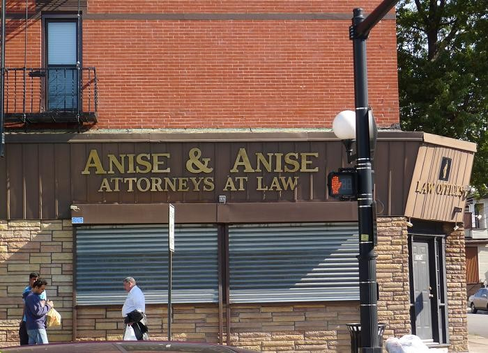On Journal Square's main drag in Jersey City, the prominent legal offices of Anise & Anise