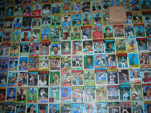 Southpaw's wall of baseball cards, 2005. There are a couple of southpaws in there.