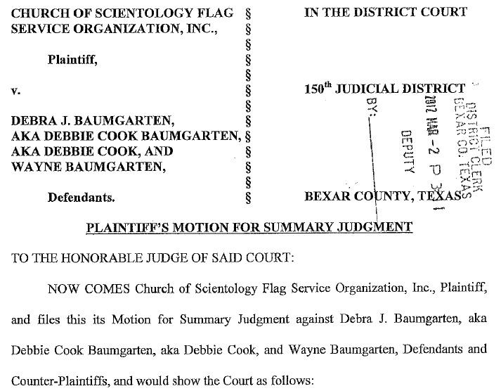 SCIENTOLOGY FILES FOR SUMMARY JUDGMENT AGAINST DEBBIE COOK