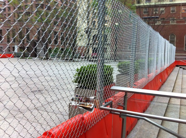 The latest version of the fencing surrounding Chase Manhattan Plaza.
