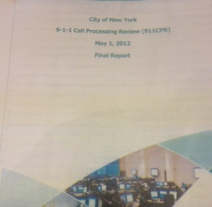 Snapshot of the cover of the 133-page  9-1-1 Report, which was given out today only in hard copy form.