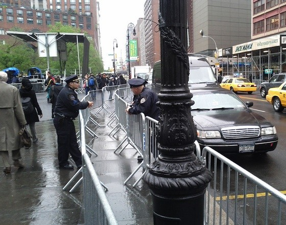 Union Square South with a double barricade