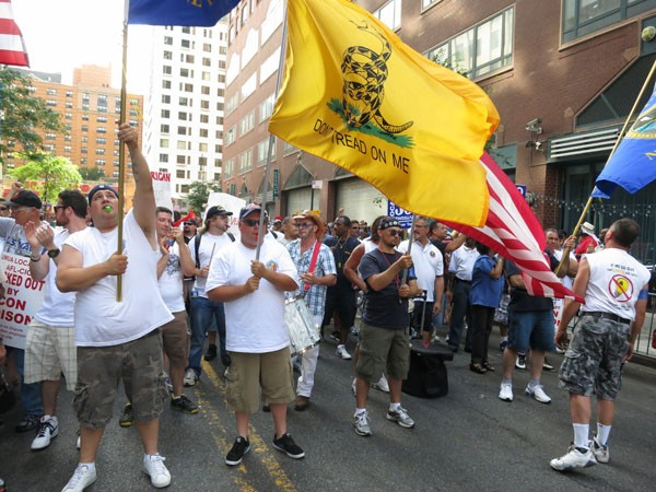 Marchers at yesterday's protest of the Con Edison lockout.