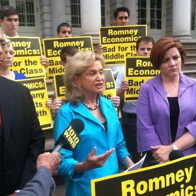 New York City Council Speaker Christine Quinn (right), Congresswoman Carolyn Maloney and Former New York City Comptroller Bill Thompson were recruited by the DNC to bash Mitt Romney as he travels across New York raising money.