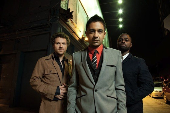 The Vijay Iyer Trio--from left, Stephan Crump, Iyer and Marcus Gilmore--perform Monday night at the Brooklyn Conservatory of Music.