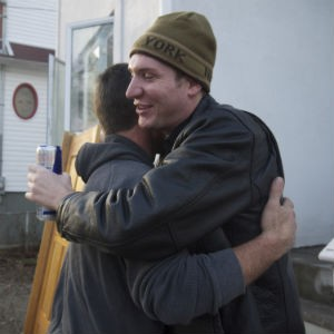 Ben Brown and Sal Galati embrace after seeing each other for the first time since Ben saved him.