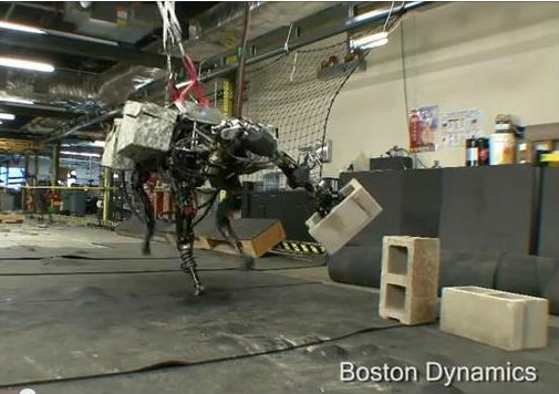 Less deadly than a Hellfire missile, but maybe creepier: This robot dinosaur sure knows how to fling a cinderblock.