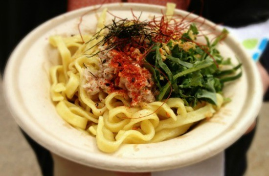 Confit tuna mazemen, dripping in sesame oil, was one of my favorite dishes at Smorgasburg