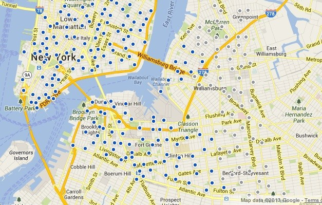 Planned Citi Bike stations are in gray.