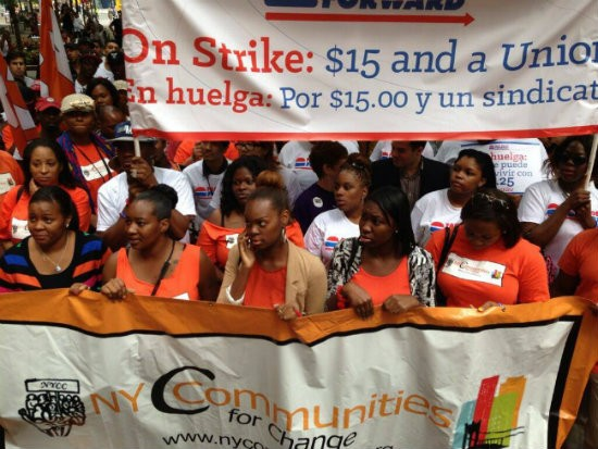 Striking fast food workers in Union Square yesterday.