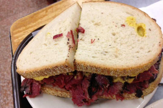 The pastrami sandwich at Katz's Deli, one of the best restaurants on the LES