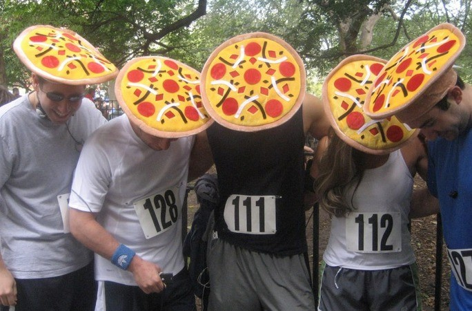 Tired of being handed Gatorade? The pizza run gives you that carb kick needed to complete a 2.25 mile course