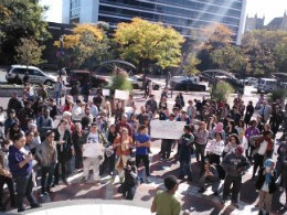 Students protest outside the North Academic Center