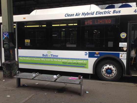 An busboard announcing Bus Time in Brooklyn in Queens, photographed on Monday.