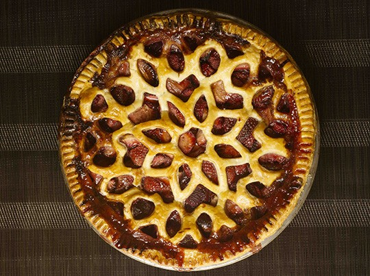Strawberry balsamic pie with cookie-cutter lattice.