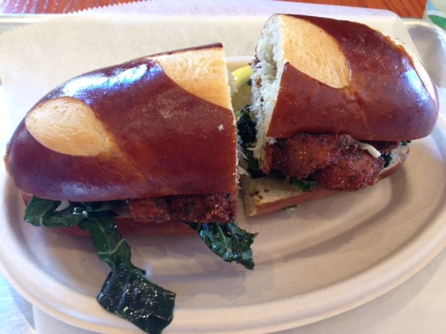 Schnitz's Mrs. Child sandwich: chicken schnitzel with greens and celery root remoulade