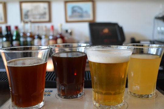 A flight of sours from Jolly Pumpkin, Brouwerij Verhaege, Professor Fritz Briem, and the Bruery at the Farm on Adderley
