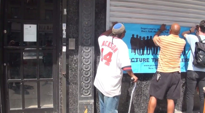 Organizers protest evictions at 941 Intervale Avenue.