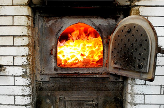 The coal oven at the original Frank Pepe's on New Haven's Wooster Street.