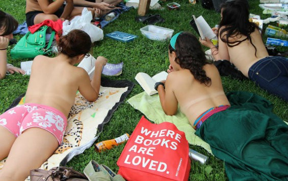 The topless book club during a recent outing.