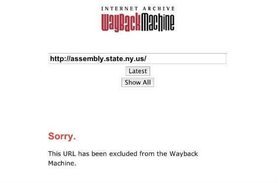 Someone in New York State government apparently didn't want the Wayback Machine archiving their goods.