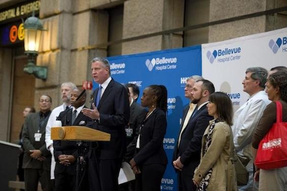 Mayor de Blasio visited Bellevue Hospital on Sunday to thank doctors and nurses caring for New York's first confirmed Ebola patient.