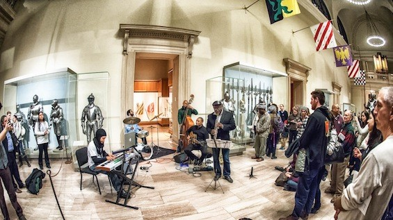 Musicians fill the galleries at the Metropolitan Museum of Art.
