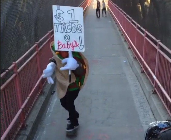 Baby's All Right's famous skateboarding taco man