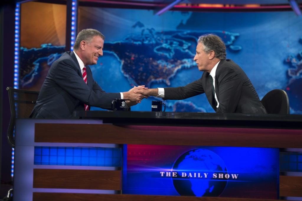 Bill de Blasio during his Daily Show appearance on Tuesday night