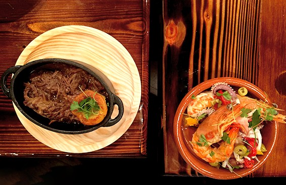 """Braised oxtail with parsnip """"marrow"""" and grilled shrimp, at Raval"""
