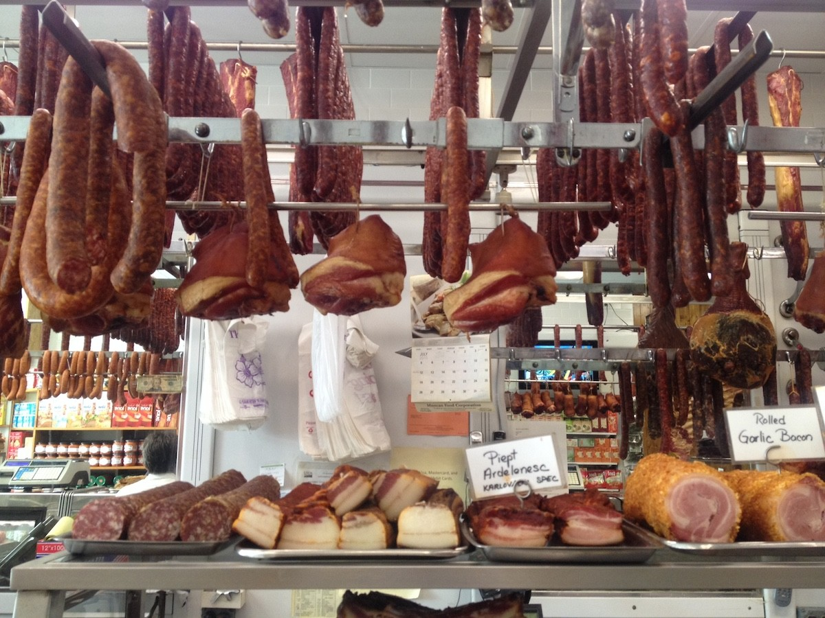 The hanging cathedral of meat at Muncan Food