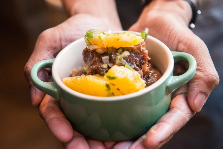 """Tasty Oxtail Cassoulet from chef Joe """"JJ"""" Johnson of the Cecil, a 2014 contender"""