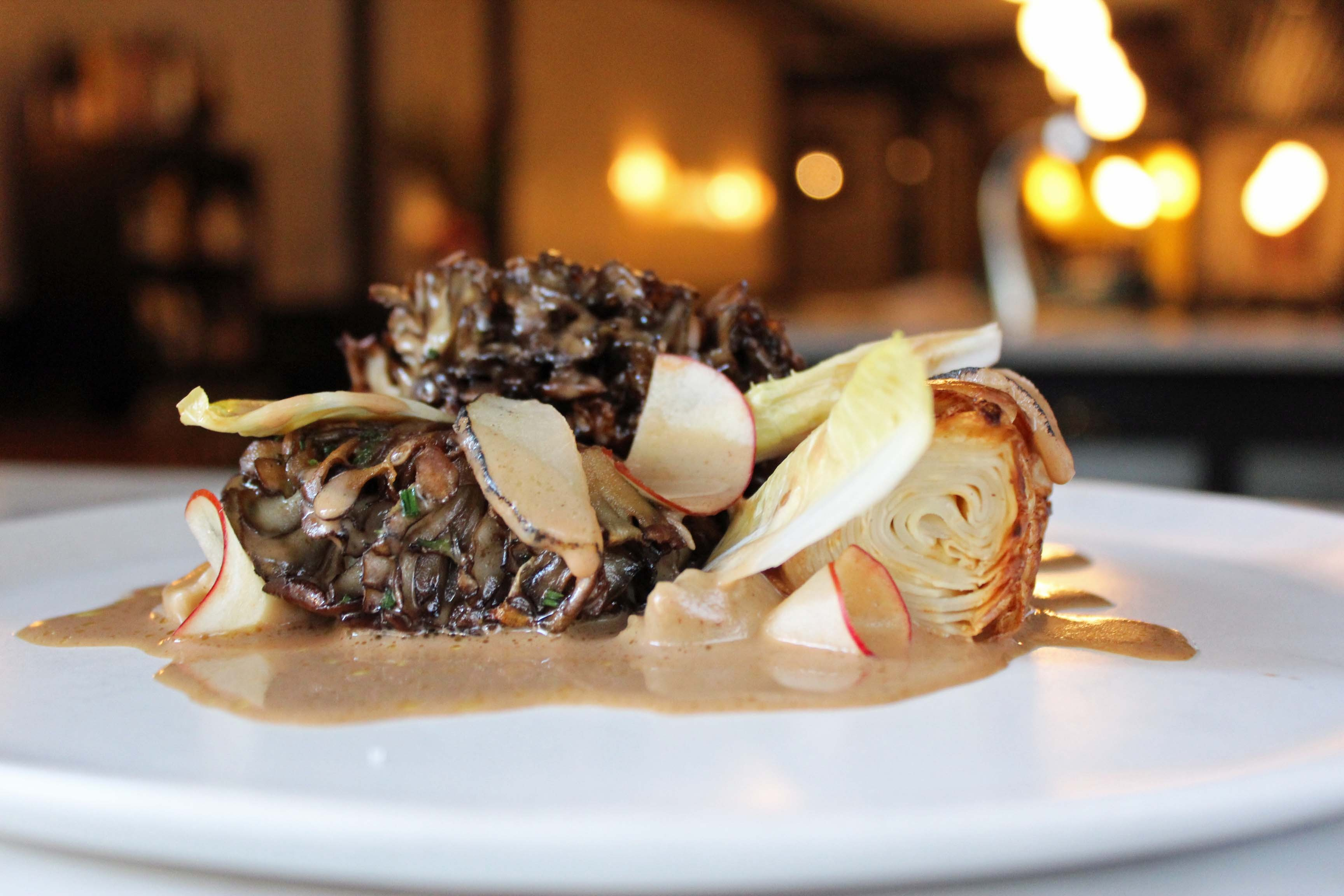 Maitake (hen-of-the-woods mushrooms) with chestnut puree and smoked olive oil