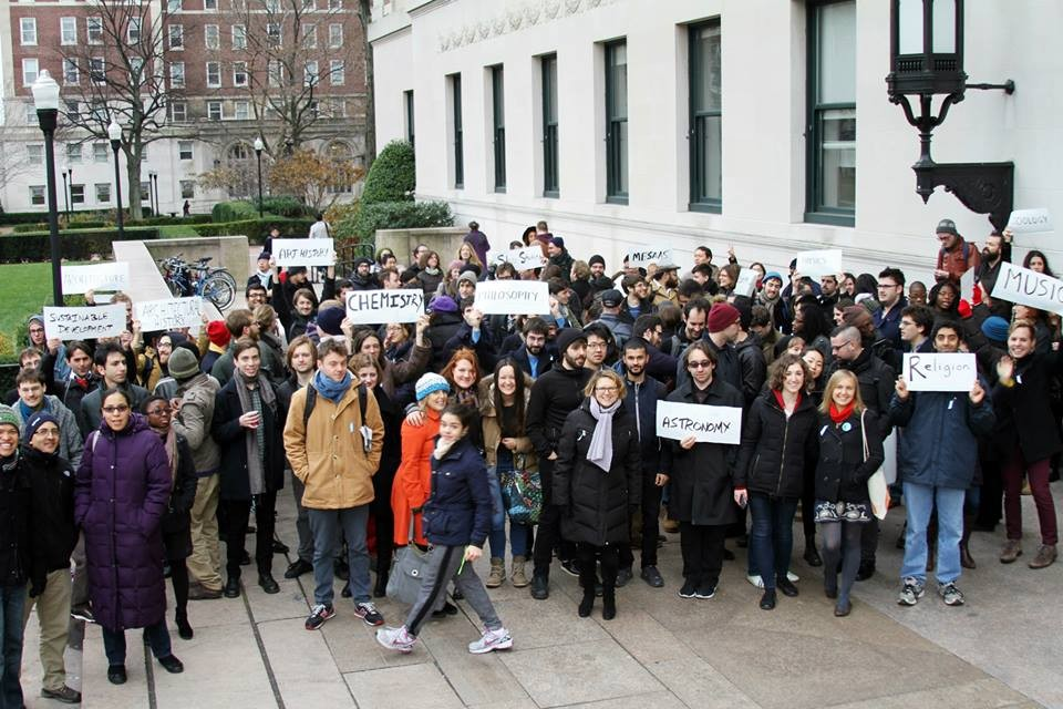 Columbia graduate student workers rally for their right to unionize.