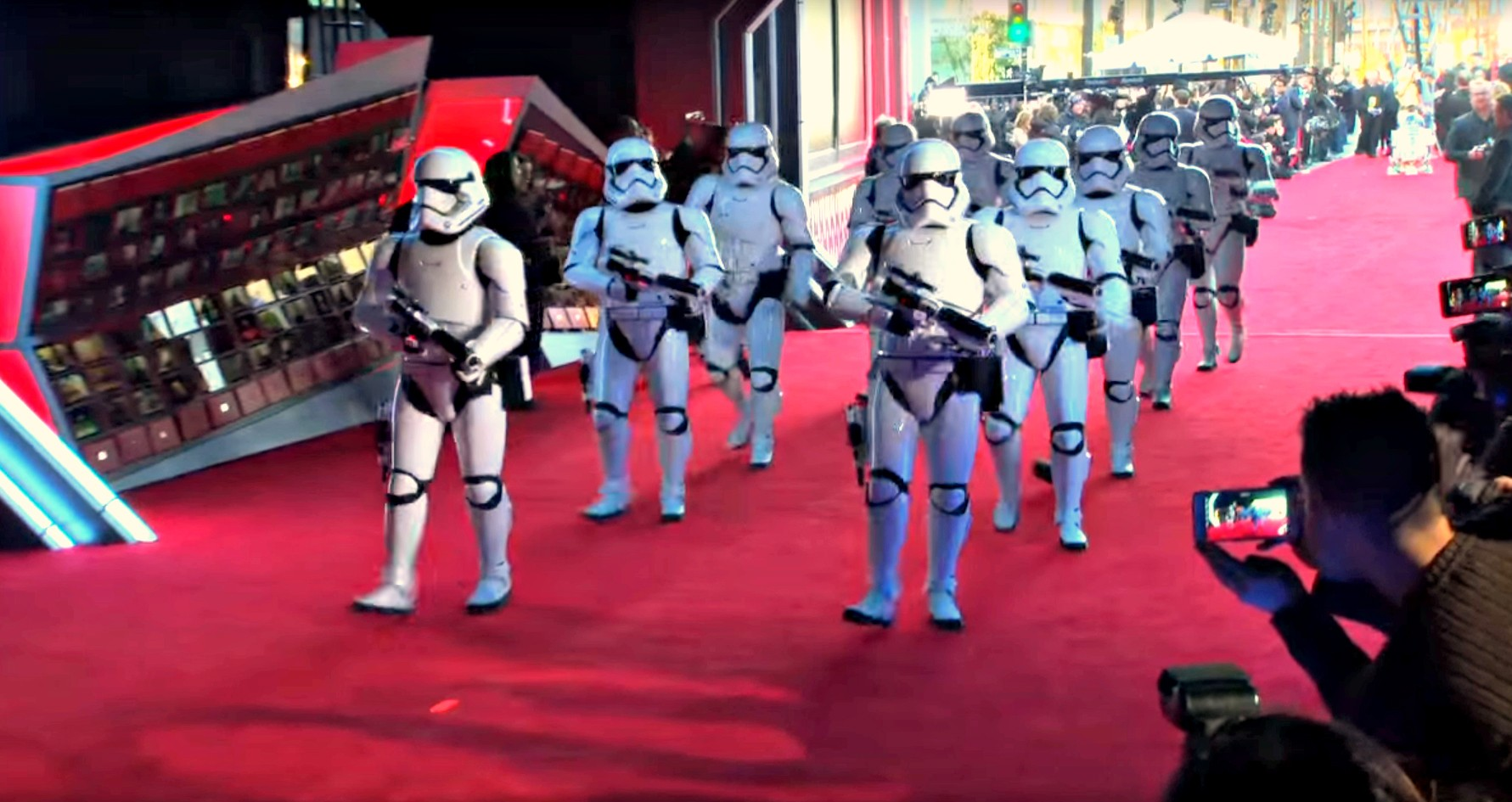 Stormtroopers make their entrance at the Hollywood premiere of The Force Awakens.
