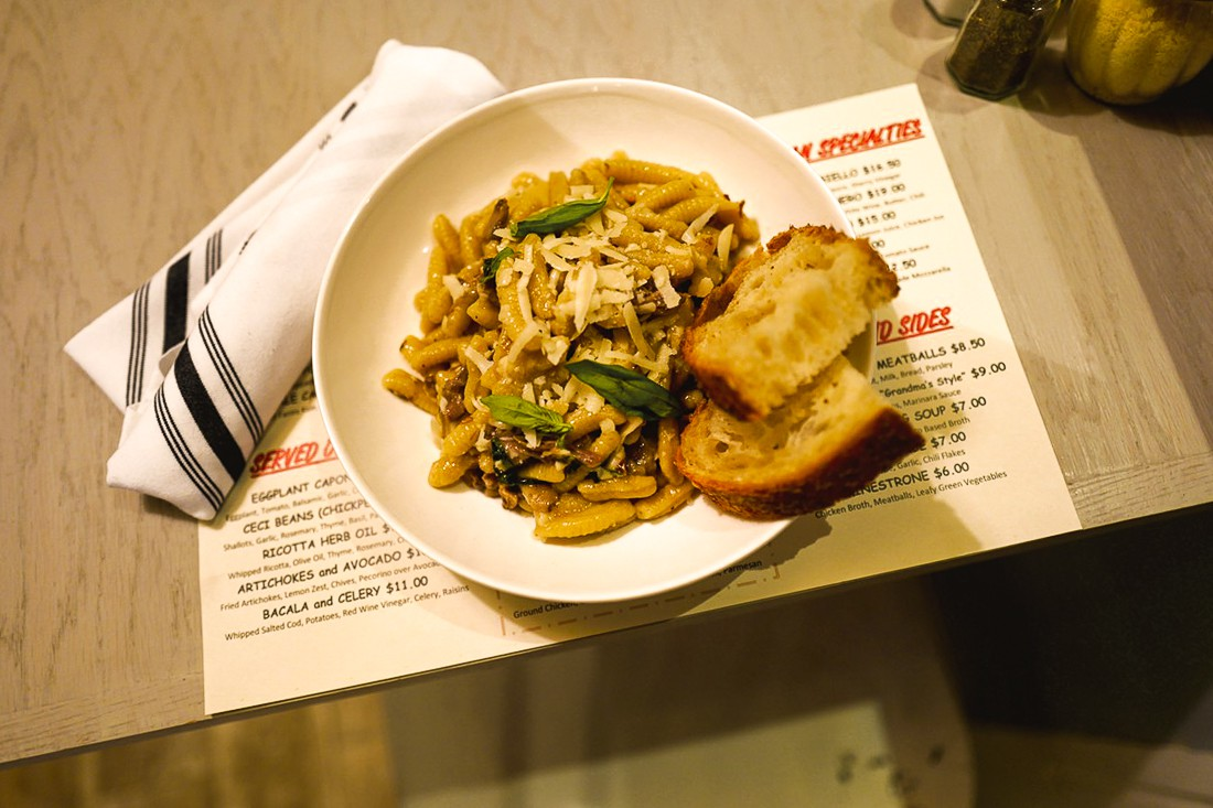 Cavatelli with lamb ragù, a mix-and-match pasta with sauce, is the most popular lunchtime combo at Aunt Jake's.